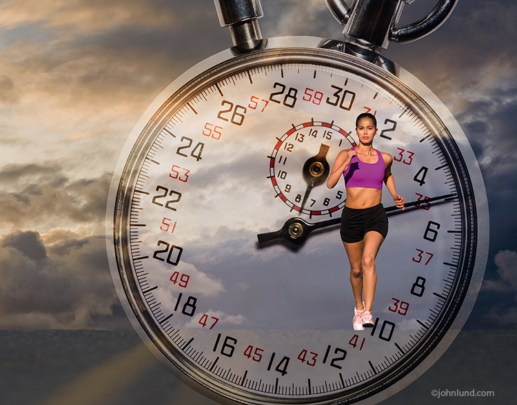 A woman is cresting a hill on a long run against a backdrop of storm clouds in this photo about determination, dedication and going the extra mile. Superimposed over the picture is a stopwatch which adds the ideas of deadines, performance and speed.