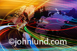 Big data streams over a map of the world's continents in a stock image about global business, data harvesting, and information management on an International scale.