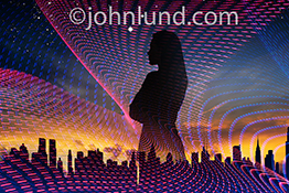 A successful, networked businesswoman looks out, in silhouette, over a city skyline at sunrise while surrounded with light trails symbolizing streaming data in a stock photo about networks, cloud computing, and connections.