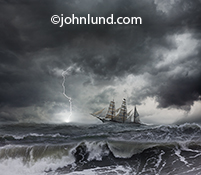 A tall ship cuts through an ocean storm while lightning strikes just off the bow of the vessel in an image about danger, risk, obstacles and challenge.
