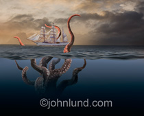 A square-rigged tall ship sails away from an ocean storm while the tentacles of a giant sea monster hover dangerously over it in a photo about risk, danger and adversity.