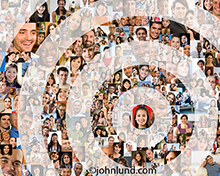This target social network fan base image consists of over a hundred individual portraits composited together then over-layed with the red concentric rings of a target.