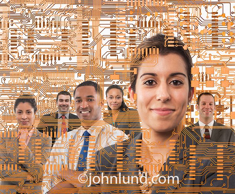 A woman stands interwoven in a circuit board while behind her, also within the circuitry, is a support team of people in an image about tech support, future technology, and teamwork.