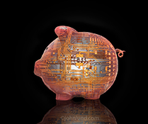 A piggy bank made from computer circuitry stock photo illustrating the concepts of online banking, venture capital and technology investments.