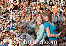 Teen social connections are illustrated in this stock image of two teenage girls sharing music ear buds against a background of hundreds of individual portraits.