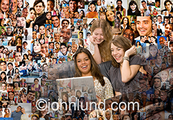 Three teen aged girls enjoy social networking on a laptop in this stock photo that features a background of hundreds of social media photos.