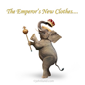 This Trump meme stock photo shows an elephant with Trump Hair, holding a scepter and wearing a crown, has the caption