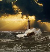 The lighthouse amid crashing waves and beneath a stormy sky is symbolic of hope, safety, refuge and guidance.