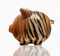 This tiger striped piggy bank was shot on a white background and shows the concept of aggressive investment and savings strategies.