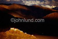 Picture and fine art print of a Tibetan Monastary at a temple in Kadakh, India. The Monastary is high in the Himalayan Mountains.