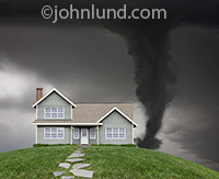 A house sits on a grassy hill while in the background the sky is filling with dark clouds as a huge tornado approaches threatening the home with total destruction.