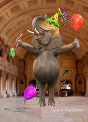 Donald Trump, with his trademark Trump Hair, appears as an elephant having his own party in a palace in a humorous president Trump picture.