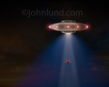 This UFO picture features a silver flying saucer at night using a tractor beam to abduct a woman in a bright red dress.