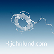 A water life ring is seen against a gradated blue background in this stock photo about water issues, water access, and drought relief.