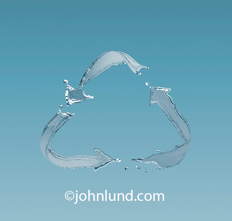 Water splashes take the form of a recycling symbol in this photographic image about water recycling, water management, and water scarcity issues.