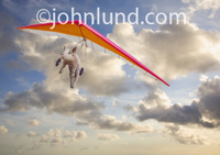 Picture of a pig flying a hang glider illustrating the idiom when pigs fly.