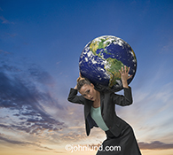 In this stock photo of a woman atlas the weight of the world rests on a business woman's shoulders.