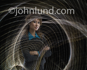 An executive portrait of a woman in a high-tech environment with abstract light patterns emulating sound and audio waves.