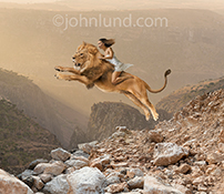 A woman rides a leaping lion in an exotic rocky terrain in this stock photo about strong women, courage, skill and daring.