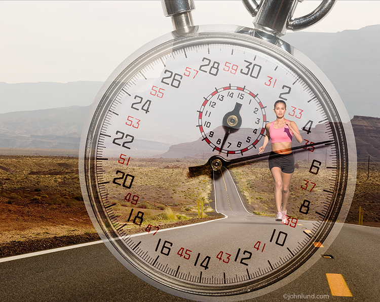 A stop watch is superimposed over a photo of a woman running along a long deserted road in an image about determination, dedication, performance and more.