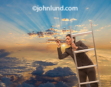 A woman hangs on to the top of a ladder thrusting up through the clouds and sans the horizon through a telescope in an image about vision, cloud computing and Internet searches.