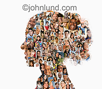 A woman's profile is filled with social media portraits in an image illustrating the concept of social connections, online communities, tribes and fan bases.