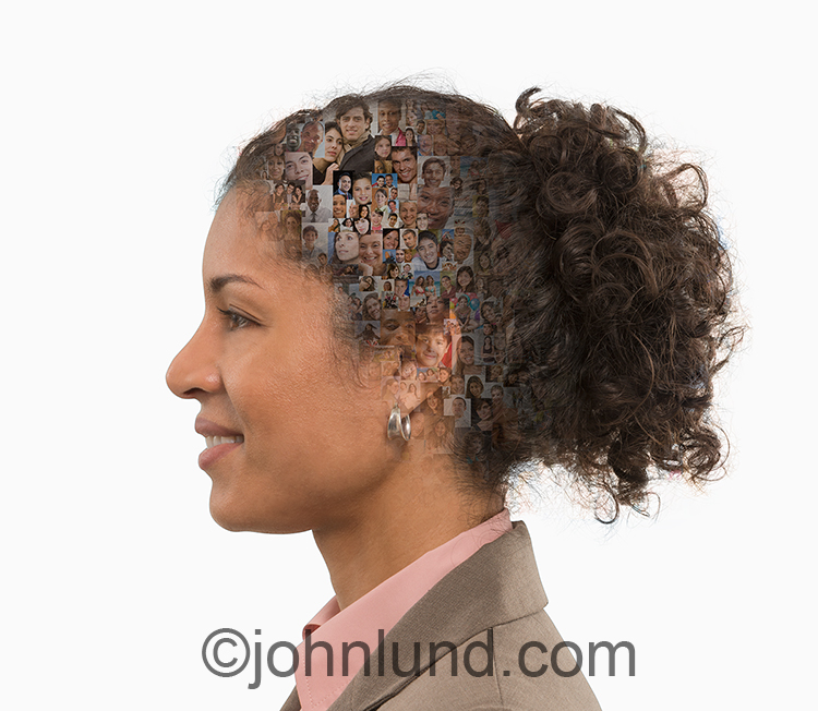 A woman in profile has her mind on social media as indicated by the numerous people portraits visible within here head.