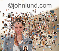 A confident and happy woman is surrounded by social media portraits in a stock photo about succeeding in social networking and establishing online communities, tribes and fan bases.