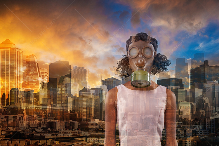 A woman wears a gas mask for protection from Corona Virus, Covid-19, and other dangers in a concept stock photo appropriate for the times.