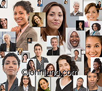 This montage of women's portraits can be used to bring attention to various women's issues from the workplace to politics to equality concerns to opportunities.
