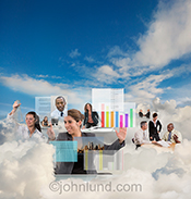 Working in the cloud is the theme of this stock photo showing numerous individuals at work in a cloudbank.