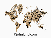 A map of the world is filled with dry, cracked earth in a metaphor for world drought and water scarcity issues.