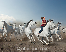 Leading a herd of stampeding horses, a woman rides her galloping horse bareback in jeans and a red shirt. Her hair is flying and her expression is one of excitement and confidence.