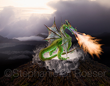 A dragon, belching flames, stands guard over a steaming caldera under gathering storm clouds in a scene of dark, desolate mountains.