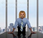 A CEO leans forward on a board room table exhibiting physical traits of a lion including the muzzel and mane in a stock photo about the qualities of leadership.