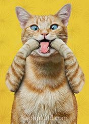 In this cat picture an orange tabby makes a funny face and sticks his tongue out, part of our Animal Antics anthropomorphic cat collection.