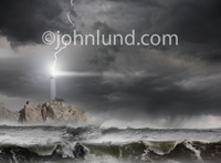 A tall, scenic lighthouse is hit by a lightning bolt during an ocean storm with dark clouds and rough seas.