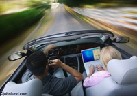 Photos of a couple driving a convertible car with a cell phone and an open laptop computer. The man is driving and the woman passenger is using her laptop.