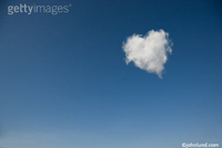 Picture of a heart shaped cloud floating in a clear blue sky.