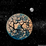 Picture of a destroyed earth as seen from outer space; a visualization of global warming, pollution and environmental disaster.