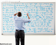 Businessman in front of complex math equation expressed on a large whiteboard. Picture of a man overwhelmed by an equation he is working on using a white board.