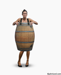 Photos of a woman wearing nothing but a barrel, an iconic American symbol for having lost everything right down to the clothes on our back.