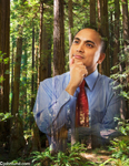 Businessman in contemplation super imposed upon a redwood forest. Picture of environmental responsibility.