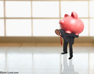 An African American man, in a suit, carries a giant piggy bank (piggybank) on his back indicating big savings, investment and banking. Hilarious stock photo for small business ads.