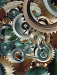 Pictures of complex gears in an interlocking puzzle of industrial fantasy offering a glimpse of the inner workings of industry.