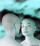 Picture of a visual connection between to futuristic looking women with shaved heads. Fantasy images for advertising.