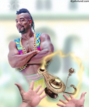 Photo of a genie coming out of a lamp. Pictures of magic lanterns and genies. This fearsome looking male Genie has his arms crossed in front of him with a all knowing look on his face. Photo of Genie about to grant three wishes. Ad pics.