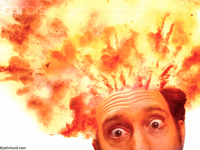 Funny looking people; a man with his head exploding from too much information, and too much everything. The top of his head has disappeared in a ball of orange and yellow fire and flames.