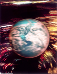 Picture of a rapidly spinning world as viewed from outer space. The blurred spinning earth is surrounded by circular streaking colored lights.