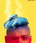 Pictures of a man's head with an icepack on it. In this photo his head and face are red and steam and vapor rises up over the icepack.
